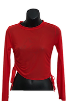 Long Sleeve Mesh Crop Top with Ruched Sides