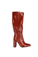 Crocodile Print Pointed Toe Knee High Boot