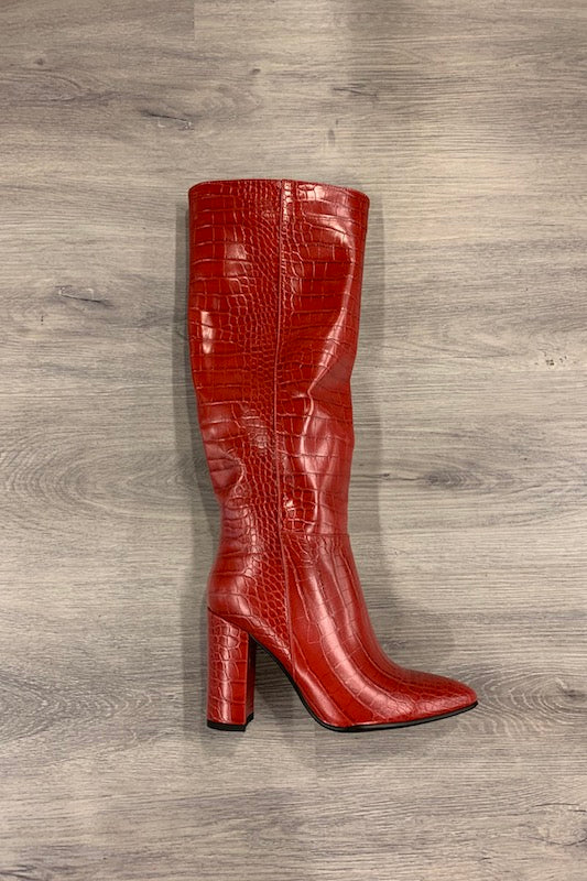 Crocodile Print Pointed Toe Boot