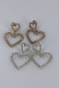 Tiered Rhinestone Heart Shape Earring