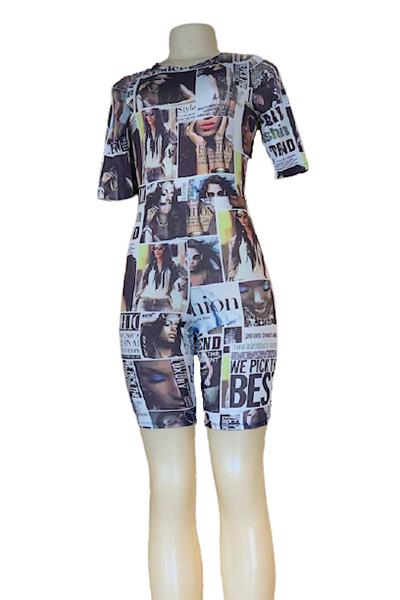Newspaper Sublimation Short Sleeve Romper