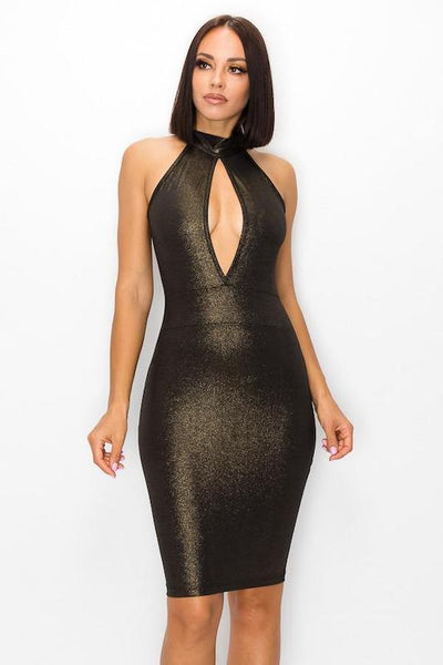 Halter Dress with Keyhole Front