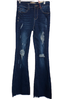 High Rise Destroyed Flared Jeans