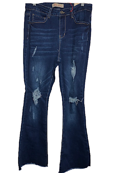 PLUS High Rise Destroyed Flared Jeans
