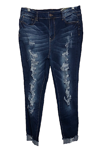 High Rise Destroyed Skinny Jeans