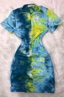 Short Sleeve Tie Dye Dress with Zipper in Front