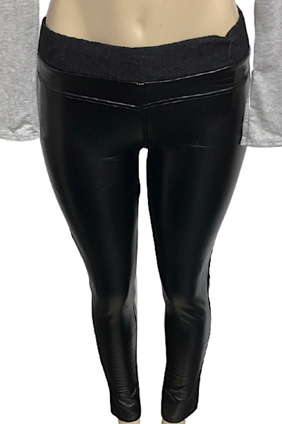 Black Faux Leather Pant with Lace Wasitband