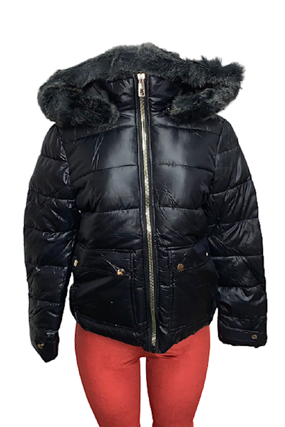 Woven Shiny Jacket with Fur Lined Hoody