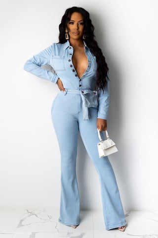 Bell Bottom Jumpsuit with Pocket Belt