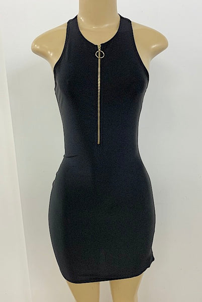 Lycra Tank Dress with Front Zipper