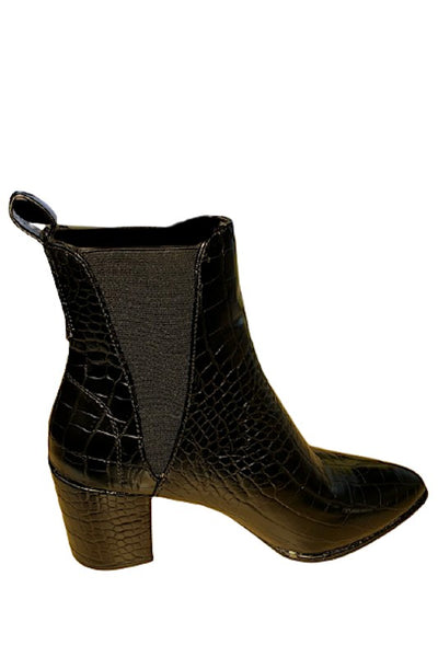 Block Heel Short Crocodile Bootie