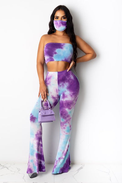 Tie Dye Strapless Crop Top & Pants Set with Mask