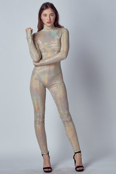 Sequin Mock Neck Jumpsuit with Zipper in Back