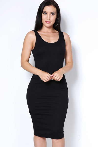Midi Length Ribbed Dress