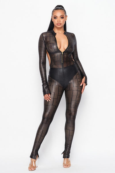 Open Back Mesh Jumpsuit