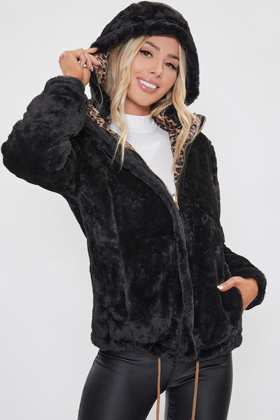 Faux Fur Reversible Hoody Jacket