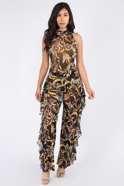 Butterfly Print Bodysuit and Ruffle Pants Mesh Set