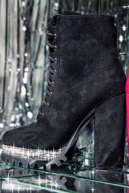 Lace Up Bootie with Rhinestone Trim