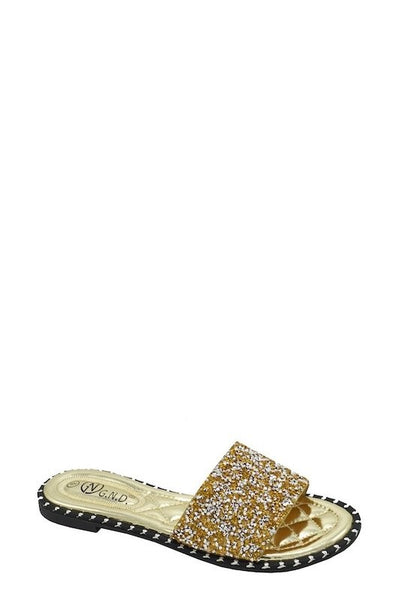 Studded Sequin Slides