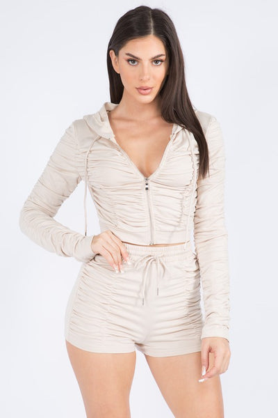 Ruched Hoody And Short Set