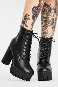 Lace Up Platform Thick Heel Bootie