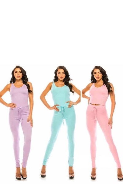 Ribbed Crop Top and Pants 2 Piece Set