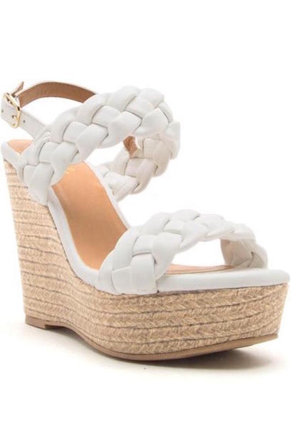 Braided 2 Band Ankle Strap Wedge