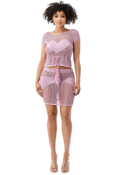 Knitted Top and Skirt Cover Up Set