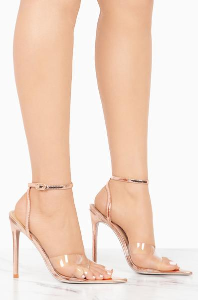 Clear Criss Cross Strap Heel