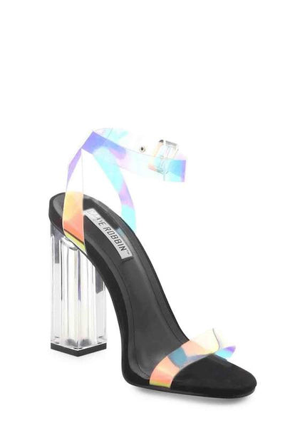 Clear Strap Chunky Thick Heel
