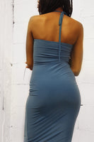 Spaghetti Halter Shirred Dress