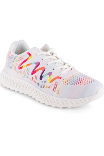 Lace Up Knit Sneaker with Zig Zag Detail