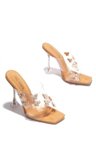 Clear High Heel Sandal with Rhinestones Butterflies
