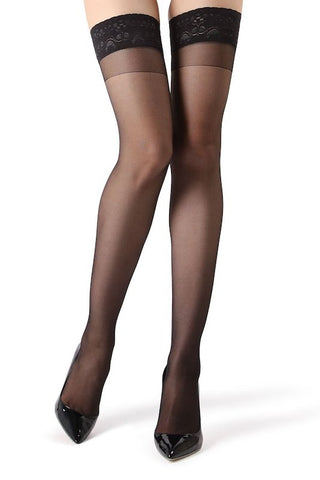 Crystal Sheer Lace Top Thigh High Stockings