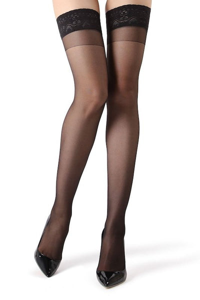 Crystal Sheer Lace Top Thigh High Stockings-PLUS SIZE