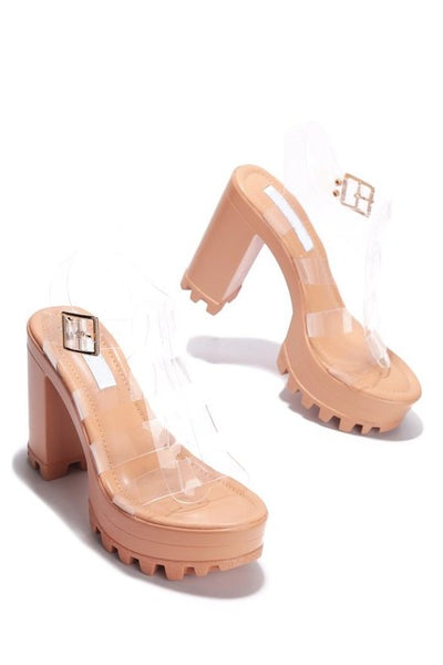 Clear Band Platform Sandal with Lug Sole