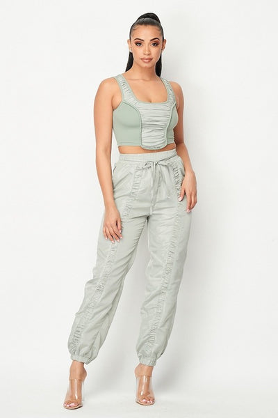 Detailed Crop Top And Jogger Pants