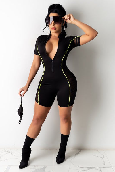 Ruched Mesh Contrast Romper With Mask