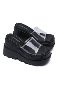 Clear Strap Sandal with Platform Sole