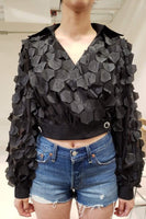 Chiffon Top with Hexagon Accents