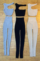 One Shoulder Cut Side Crop Top and Leggings Set