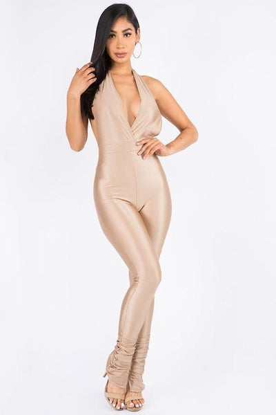 Halter Jumpsuit With Shirred Bottom