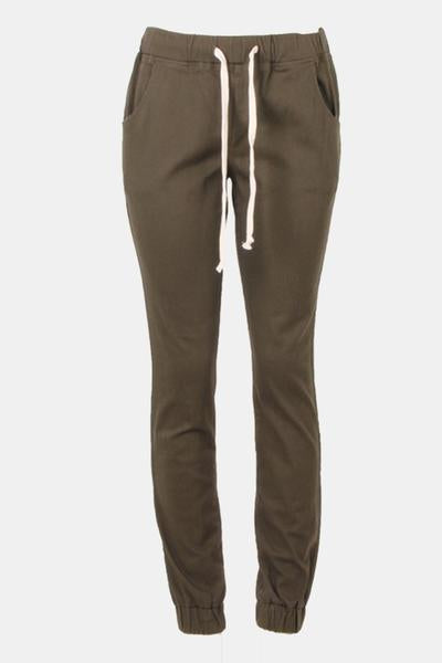 Drawstring Twill Solid Jogger Pants
