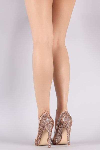 Glitter Encrusted Clear Panel Pointy Toe Stiletto Pump