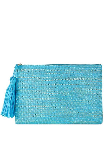 Stripped Metallic Straw Clutch