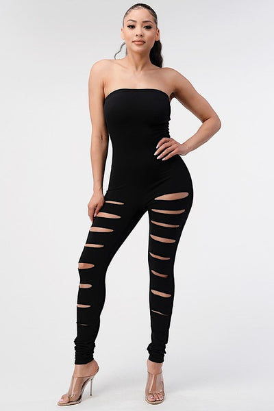 Tube Top Jumpsuit with Slashes