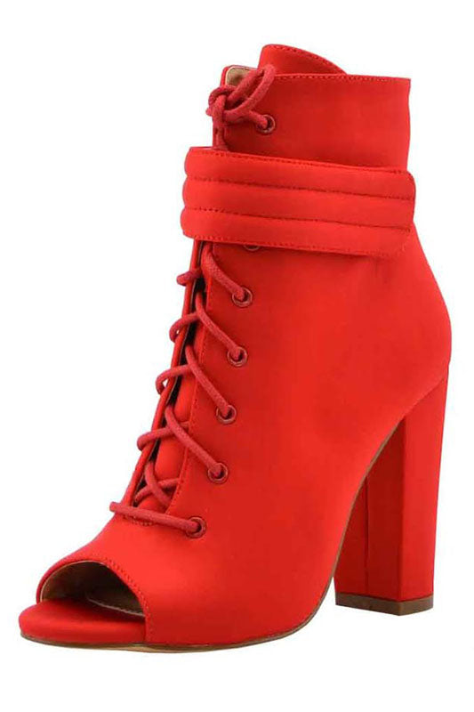 Lace Up Chunky Heel Bootie