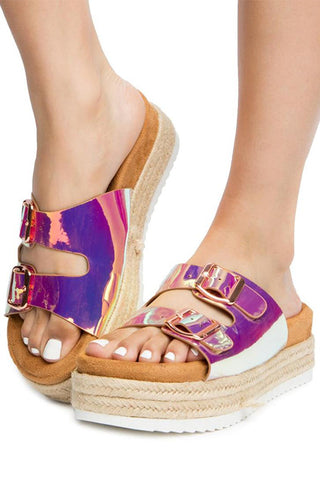 Double Buckle Platform Sandal