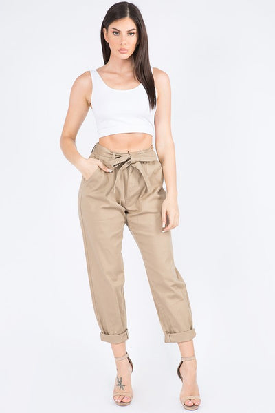 Roll Up Pant with Waist Tie