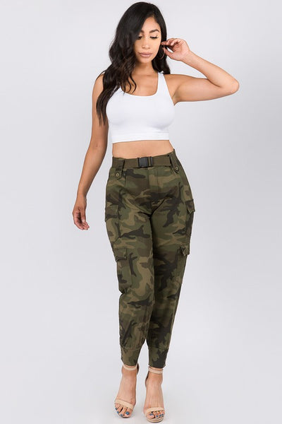 High Waist Belted Cargo Pant